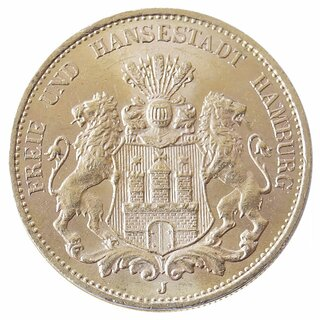 20 Mark Gold Hamburg kleiner Adler 1875-1889 J.210
